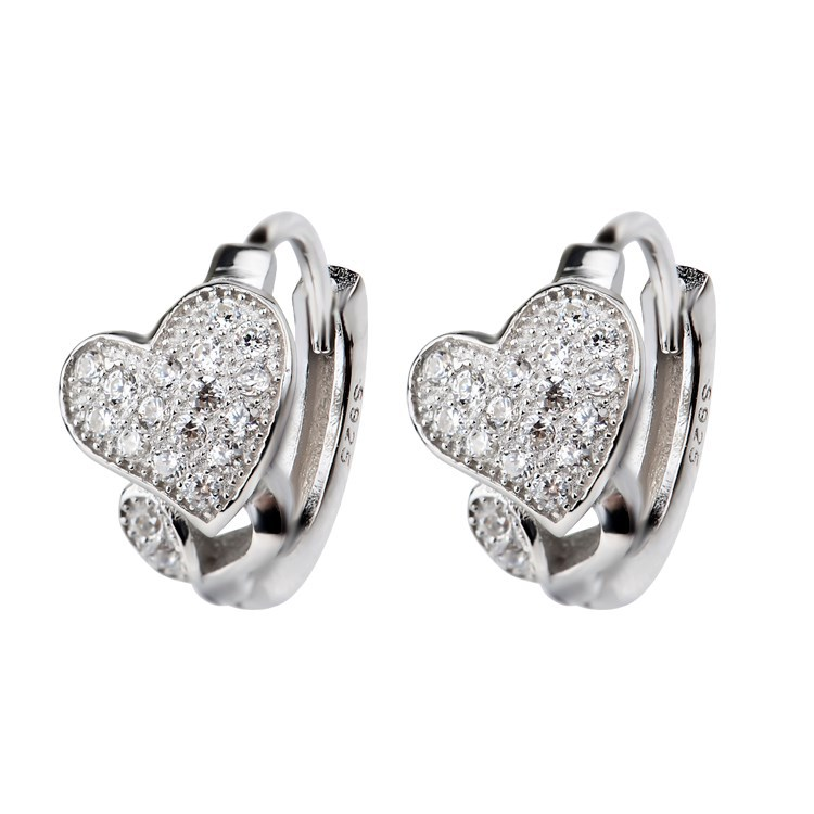 Fashion Design Heart Shaped Silver Small Hoop Earrings Jewellery