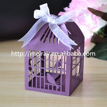 Customized Bird Cage Wedding Favour Box Laser Cut Cup Cake Bo Table Decoration