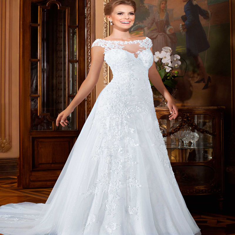 Wedding Gowns With Cap Sleeves: Romantic Wedding Dresses 2016 Short Cap Sleeves Bridal