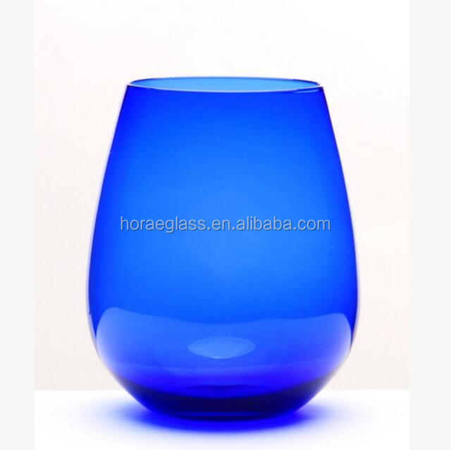 China wholesale new products glassware manufacturing colorful stemless wine glass