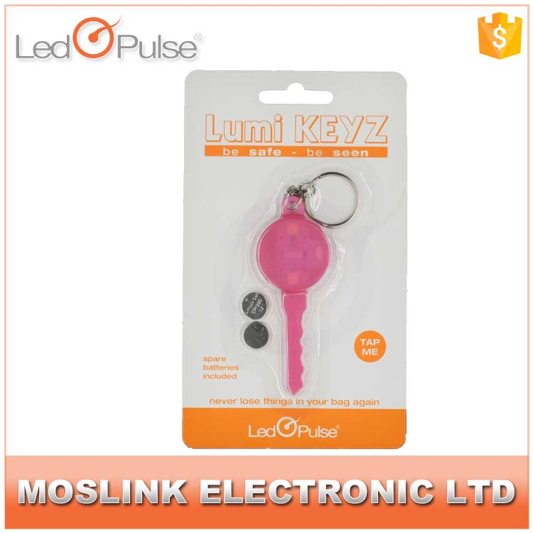 LED Pulse wholesale easy found key shape ABS material motion activated blink flashing mini led keychain