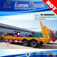 Aotong brand 2 axles 40 tons atv log loader lowboy semi trailer for sale