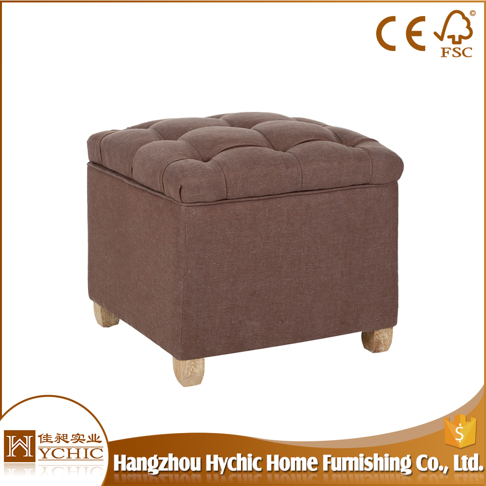 Exported good quality room storage ottoman outdoor wood leg benches stool for lobby