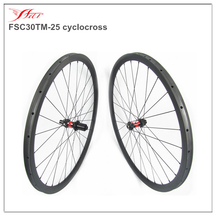 2016 customized 30mm tubular rims, super light CX clincher disc wheels, 1290g/set. 700C road carbon wheels with disc hub