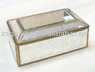 Antique mirror gold frame finished jewelry box View Decorative
