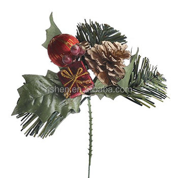 collection of 12 holiday floral pinecones apples and drums christmas floral picks