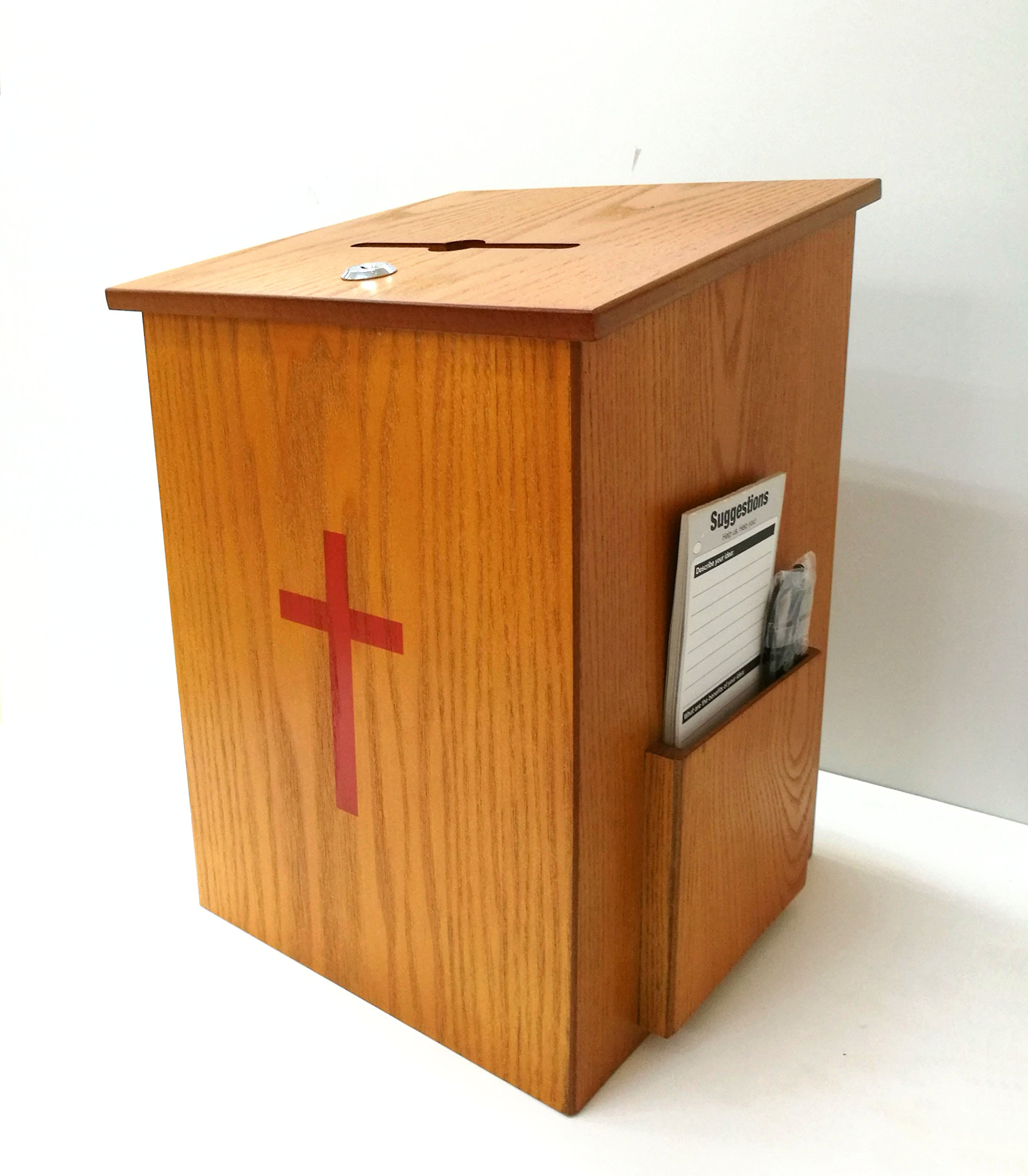 Amazoncom FixtureDisplays Wood Collection Donation Box Church Offering Coin Collection Fundraising Box 10886 Suggestion Boxes Office Products
