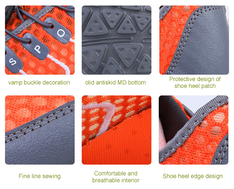 shoes outdoor sports breathable shoes SDIiLAN men's hiking summer gray tourism Orange men's casual OCnWxH5vqw