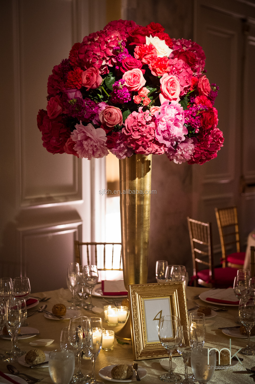 Centerpieces No Vase : Good quality tall vase for wedding table centerpiece