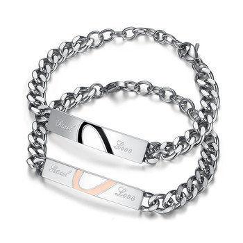 Half Heart Puzzle Couple Bracelet Romantic Real Love Stainless Steel Chain & Link Bracelets Fashion Jewelry For Women Men 772