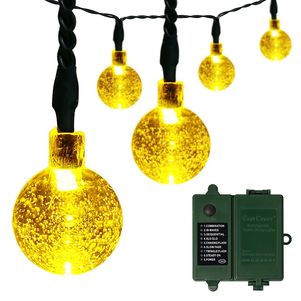 get quotations 18650 rechargeable battery included easydecor globe battery operated string lights 30 led automatic timer