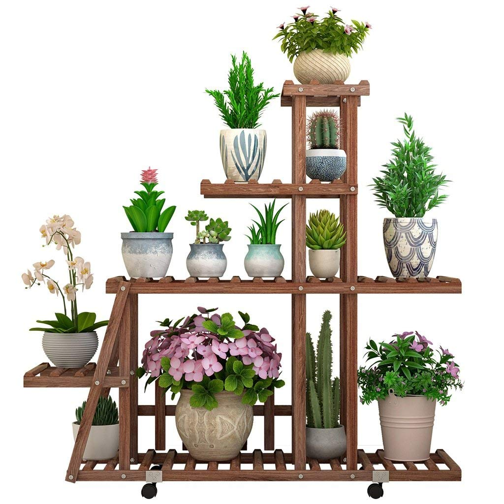 Plant Stand Flower Stand/Plant Stand Two-Layer Solid Wood Garden Flower Pot Storage Rack Living Room Wrought Iron Flower Stand Multi-Storey Indoor Multi-Functional Floor Rack Plant Container Gardening