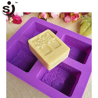 Amazon Hot Sale Newest 4 Cavity Flower Tree Rectangle Silicone Soap Molds