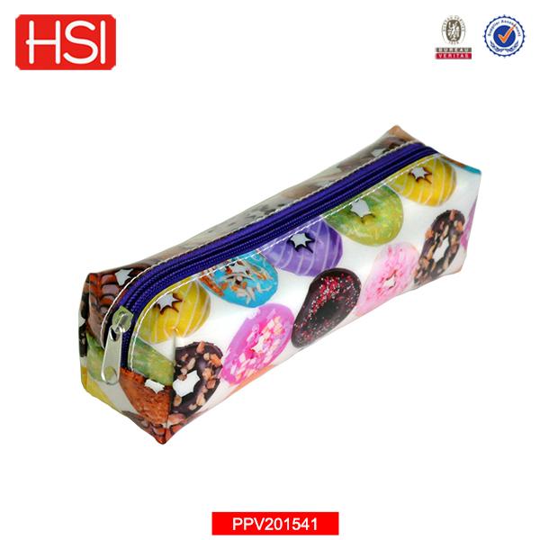Wholesale Donut Printed Plastic Pvc Vinyl Square Cute Pencil Case ...