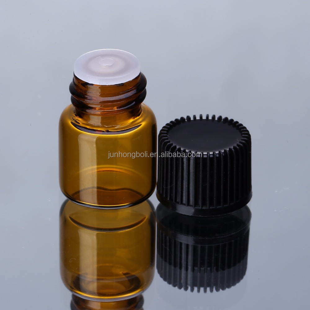0.5ml 1ml 2ml 3ml mini amber glass bottle with black screw cap plastic orifice reducer small glass vial