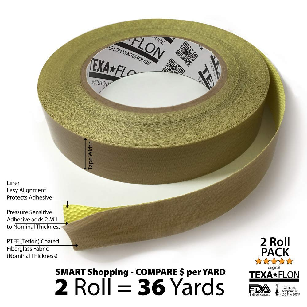 """TEXAFLON 10MIL (12MIL Total) PTFE Teflon Coated Fiberglass Tape with Silicone Adhesive and Liner, 18 Yards (½"""" Width - Set of 2)"""