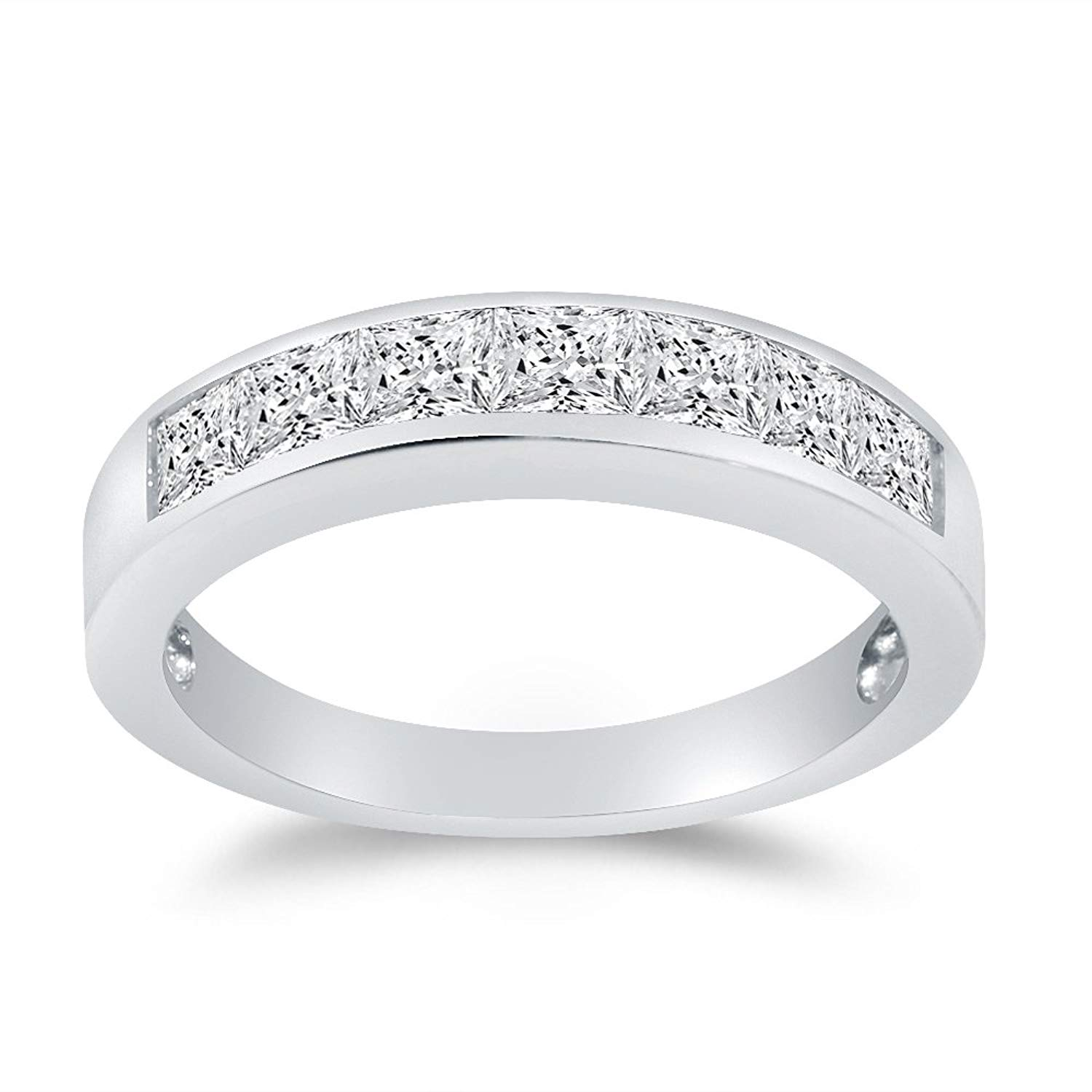 Solid 925 Sterling Silver 4mm Princess Cut Anniversary Ring Wedding Band Highest Quality CZ Cubic Zirconia 1.0cttw.