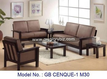 Modern Design Wooden Furniture Set Sofa Living Room Wood With Coffee Table End