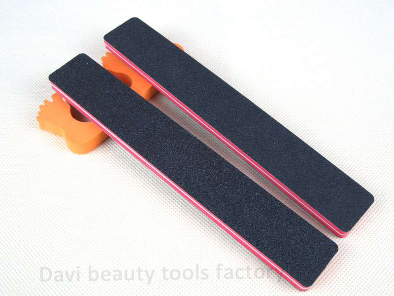 Buy nail file 50pcs/lot Rectangular red sponge black sandpaper emery ...
