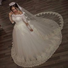 ON401 Luxury Vintage Long Sleeve off Shoulder White One Wedding Dresses Style Queen Lace Bridal Bride Gowns robe de mariage