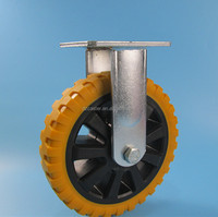 8 inch 200mm double ball bearing heavy duty hummer polyurethane fixed industrial caster wheel