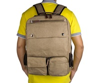 9022B Popular Light Brown Laptop Bag High Quality Canvas And Leather Travel Backpack
