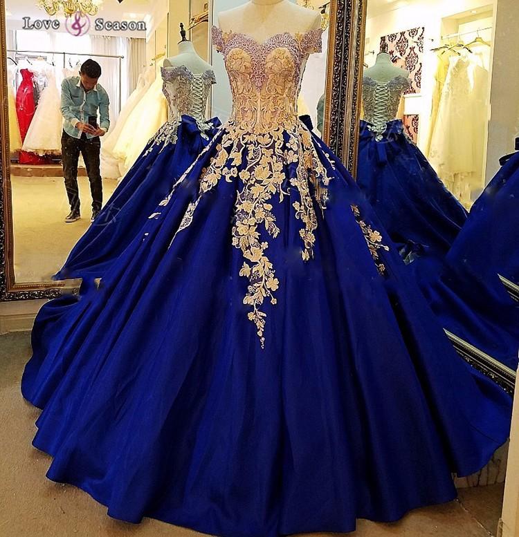 Vestidos de graduacion azul rey con encaje