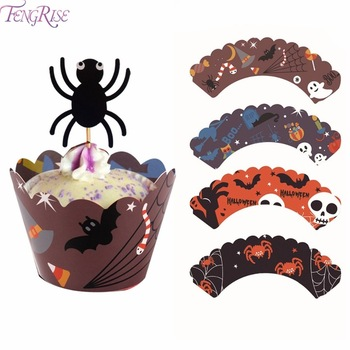 Halloween Decorations 12pcs Cupcake Wrappers Wraps Case Hollow Laser Cut Cake Decorating Supplies Halloween Party Accessories