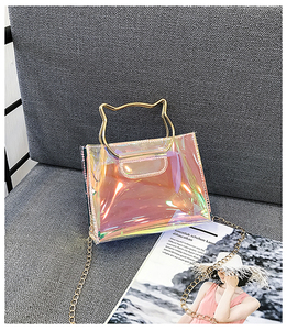 PVC Transparent Hologram Laser Handbag,small square bag designer fashion cheap lady handbag wholesale