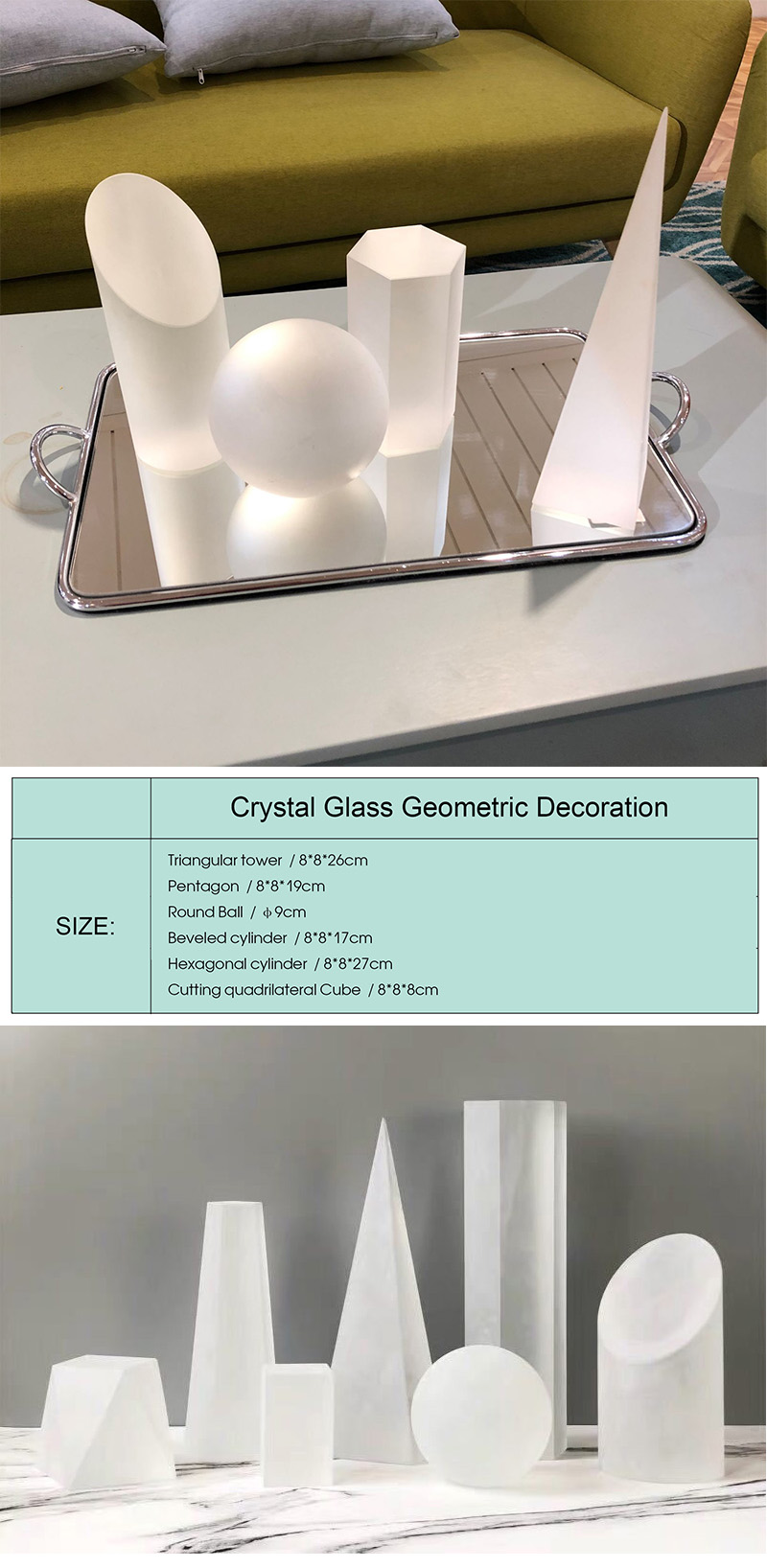 Beautiful Decorative crystal crafts obsidian crystal Ball pyramid Beveled cylinder Pillar Geometric ornaments for Weeding gift