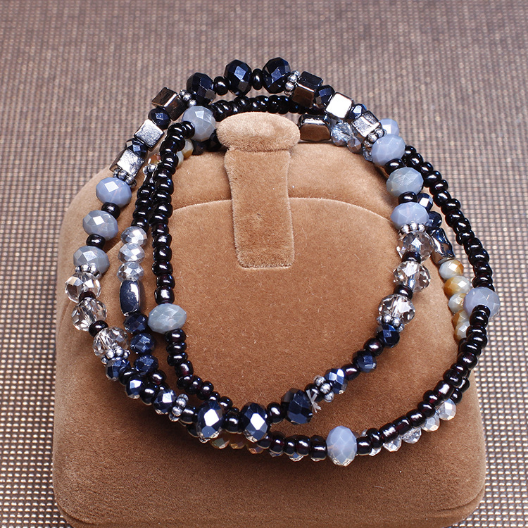 Zinc alloy glass beads fashion jewelry bracelet manufacturer ladies crystal bracelet women handmade beads bracelet