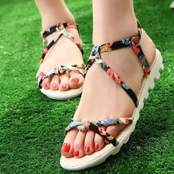 W91570a 2015 Flat Women Sandals Shoes Girls Flat Heel Open-toed ...