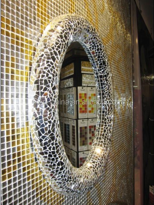 luxus geh rtetem mosaik silber glasfliese rahmen spiegel f r die hochzeit oder schminktisch mit. Black Bedroom Furniture Sets. Home Design Ideas
