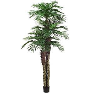 10' Areca Triple Trunk Silk Palm Tree w/Pot -Green
