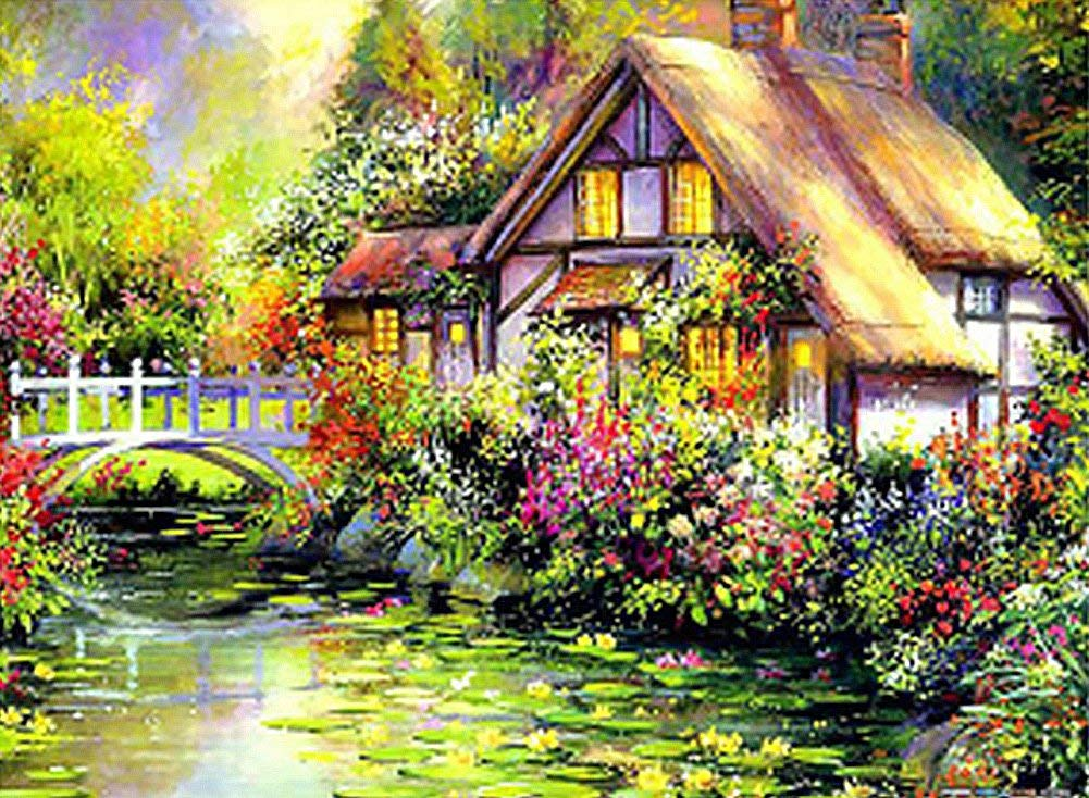 Wowdecor Paint by Numbers Kits for Adults Kids, DIY Number Painting - Thomas Landscape Quiet Cabin Lake Flowers Scenery 40 x 50 cm - New Stamped Canvas (Framed)