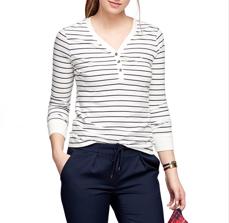 Wholesale Custom Striped T Shirt Women Long Sleeve T Shirt