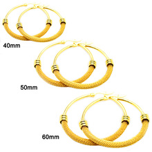 Bulk 도매 self 피어싱 mesh 선 큰 <span class=keywords><strong>리안</strong></span> round 모양의 24 천개 금 jewelry hoop earrings