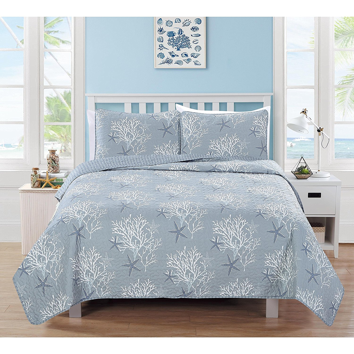 MPN 3 Piece Beautiful Blue White Full Queen Quilt Set, Beach Themed Reversible Bedding Seaside Coral Ocean Cottage Cabin Vintage Trendy Chic Water Coastal Starfish, Cotton, Polyester