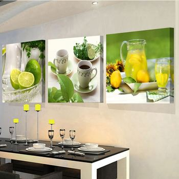 Fruit Wall Decor wholesale 3 panels paintings for the kitchen fruit wall decor
