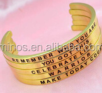 china factory custom jewelry Thin Plain stainless steel cuff bracelet engraved friend gold plated bangle