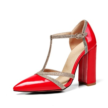 b42afd2fc469 2018 New thick heel black women high heel sandals ladies high heel fancy  sandals