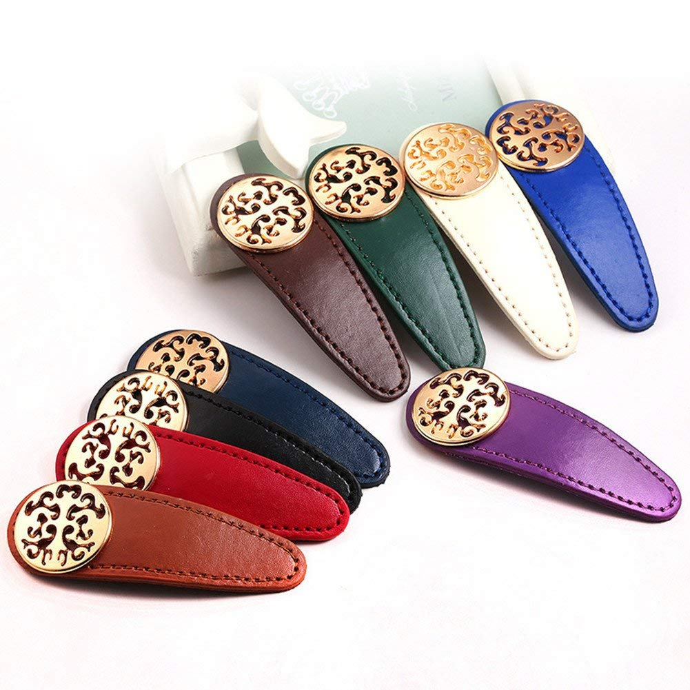 ShungFun 9pcs Women Girl Vintage Leather Hair Clips Retro Pigtail Spring Clips Hair Holders Hair Snap Clips