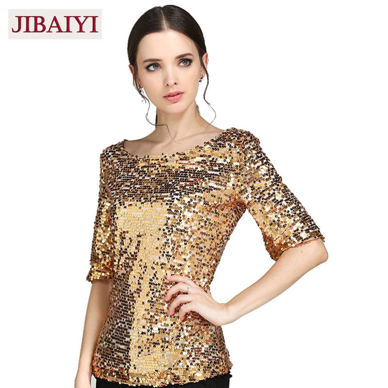 da5e483fbf70 Wholesale New Sequins Half Sleeve T Shirts Women Fashion Gold Silver ...