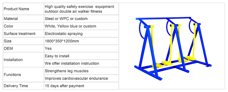 Rua ao ar livre equipamento de treino duplo air walker fitness