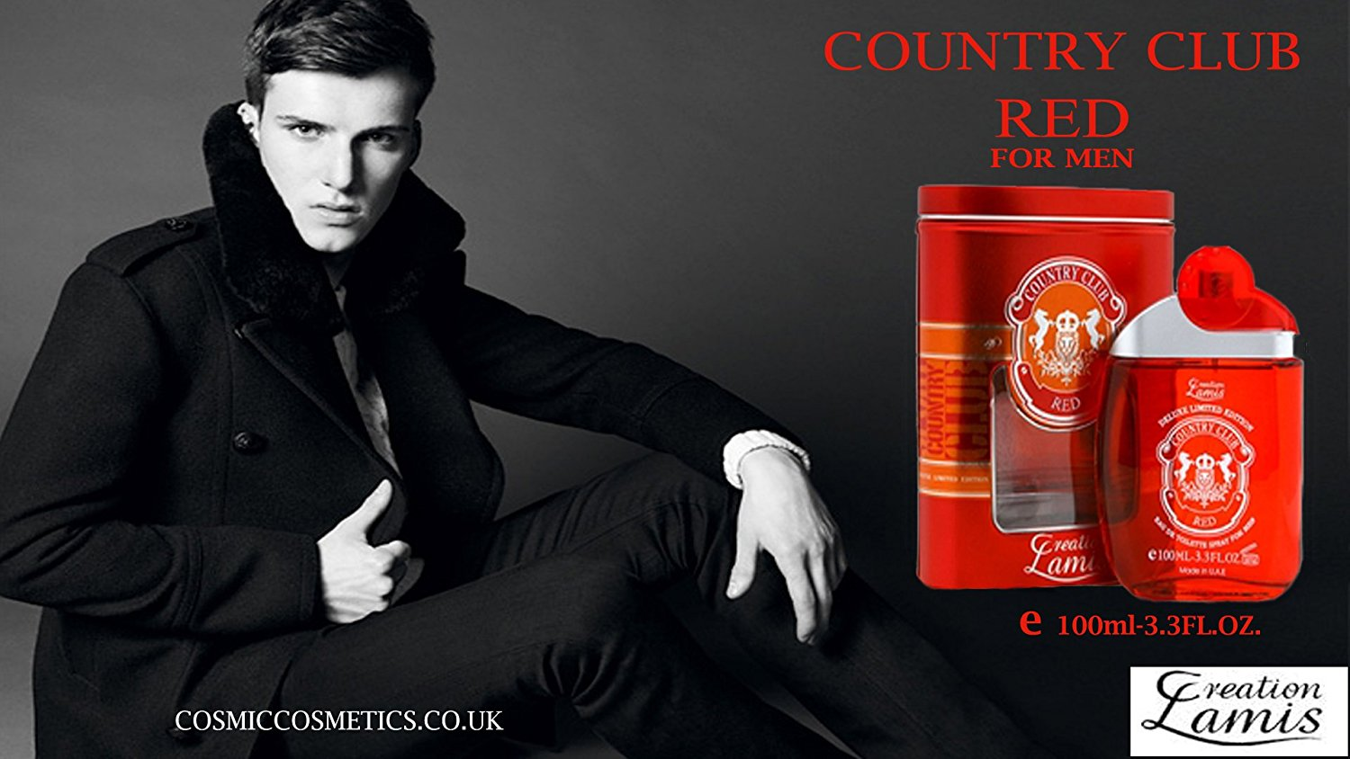 Country Club Red Deluxe 3.3oz. EDT Men Spray by Creation Lamis