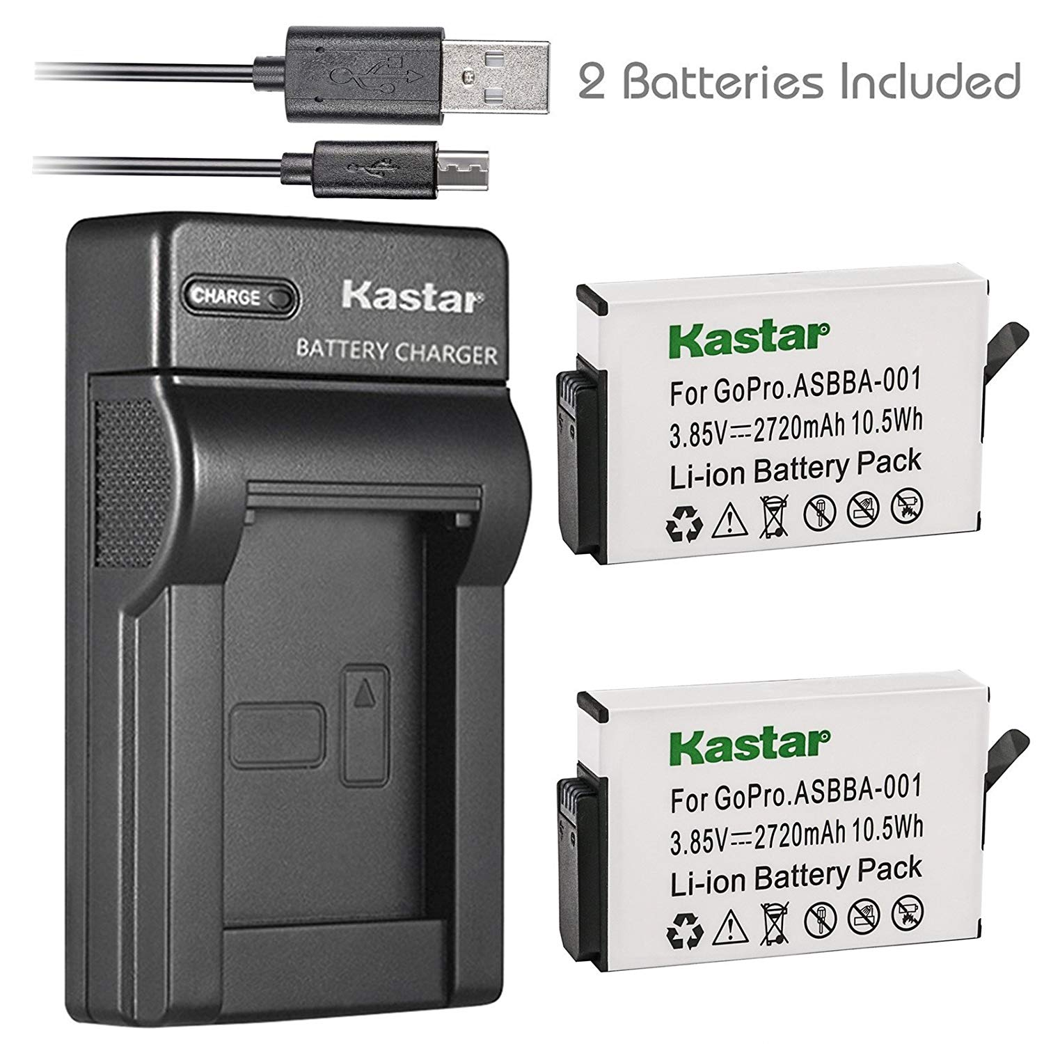 Kastar Battery 2 Pack and Slim USB Charger for GoPro ASBBA-001 Battery and Gopro Fusion 360-Degree Action Camera