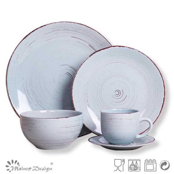 Cheap Blue Ceramic Dinner Set Big Serving Dinnerware Wedding Factory