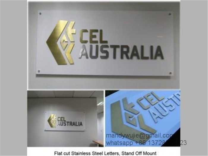 Outdoor freestanding large golden brushed stainless steel letters sculpture