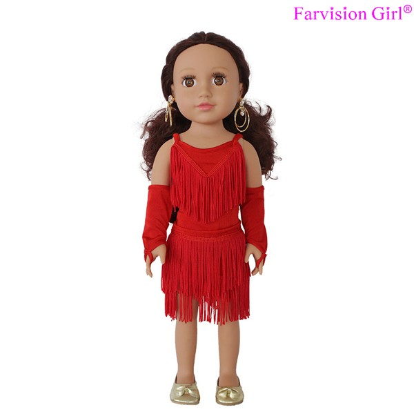"18"" red Latin dance doll dress, doll clothes"