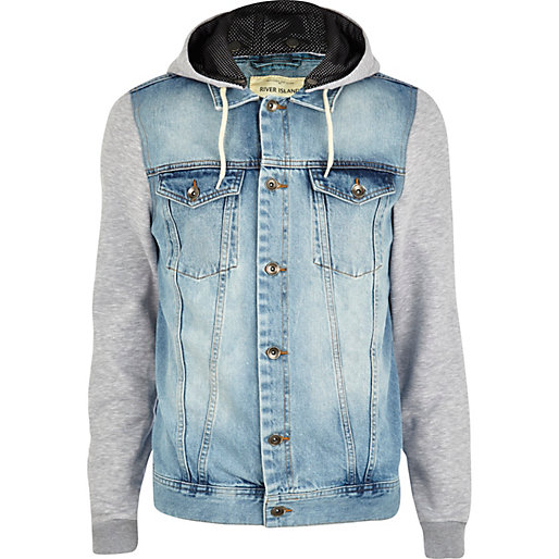 Mens 100% Cotton Denim Jersey Sleeve Hooded Denim Jean Bomber ...